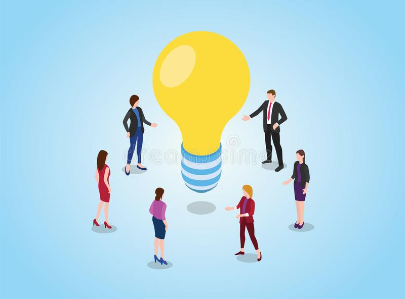 Search or find ideas or solution concept with team discussion debate on meeting with light bulb yellow with modern isometric style vector illustration