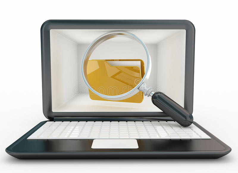 Search folders on computer. 3d high quality render stock photo