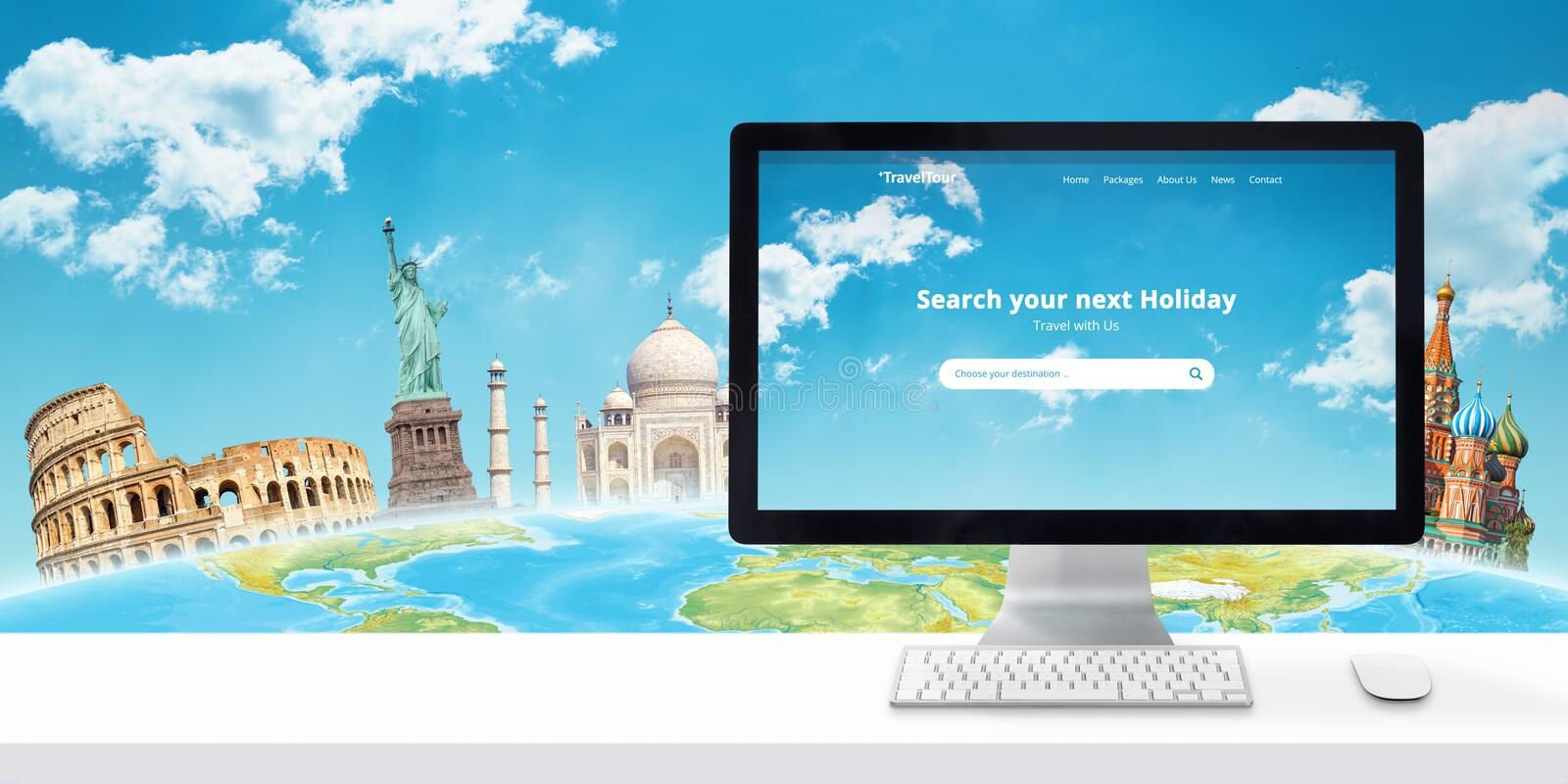 Holiday Booking Online Concept Of Modern Travel Agency Web Site With Famous World Sights Stock Photo Image Of Explore Famous 152682844