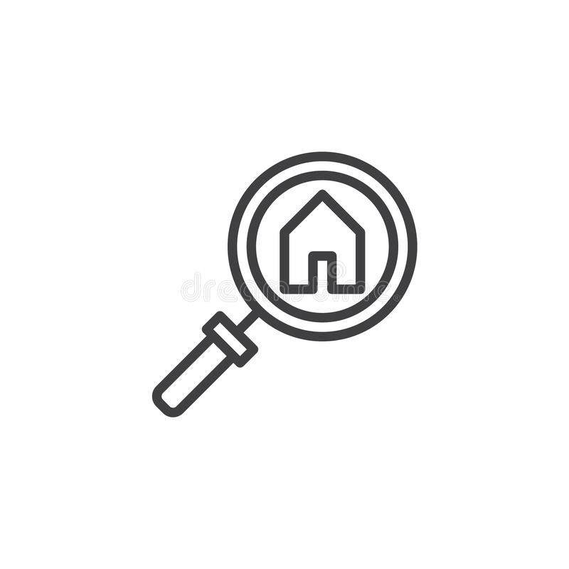 Search home outline icon. Linear style sign for mobile concept and web design. Real estate search line vector icon. Symbol, logo illustration. Pixel perfect vector illustration