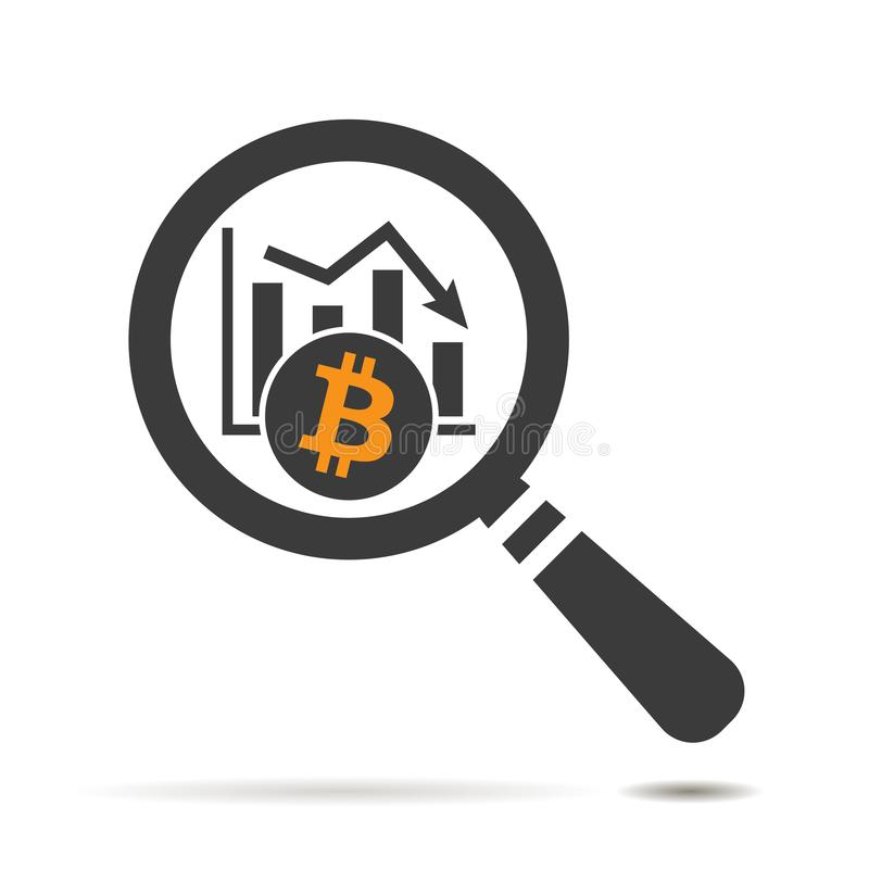 Search icon of bitcoin cryptocurrency graph going down. Flat search icon of bitcoin cryptocurrency graph going down stock illustration
