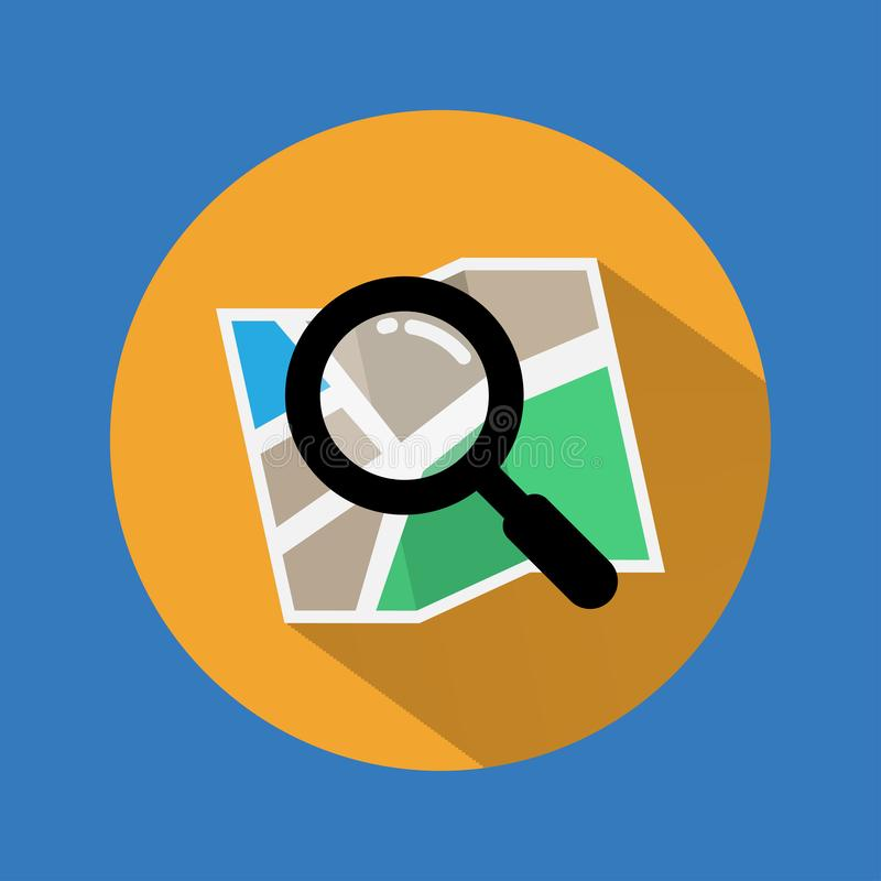 Search Icon. Find icon on map with long shadow. Vector. Illustration. royalty free illustration