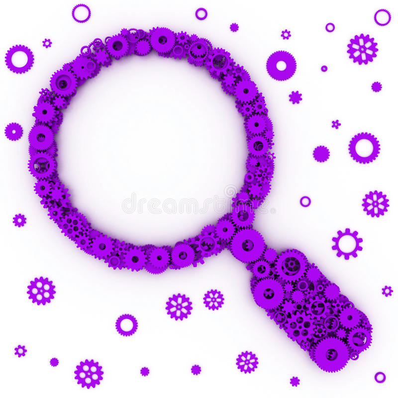 The search icon. Magnifier of gears. The search icon. 3D stock photography