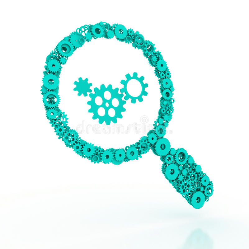 The search icon. Magnifier of gears. The search icon. 3D stock images