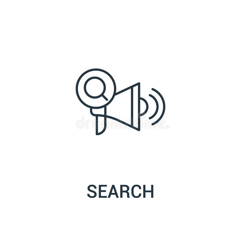search icon vector from ads collection. Thin line search outline icon vector illustration. Linear symbol for use on web and mobile royalty free illustration