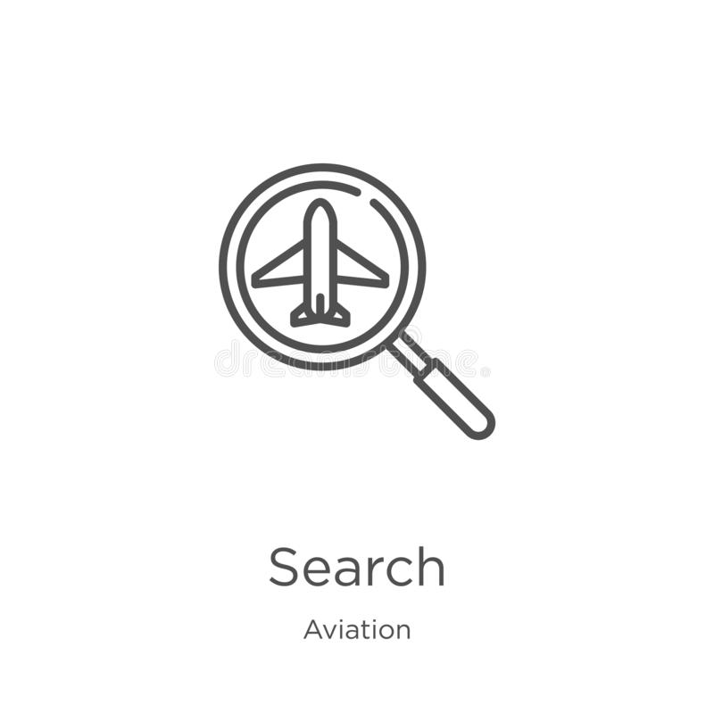 Search icon vector from aviation collection. Thin line search outline icon vector illustration. Outline, thin line search icon for. Search icon. Element of vector illustration