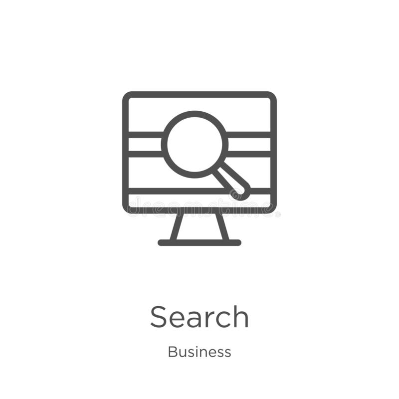 search icon vector from business collection. Thin line search outline icon vector illustration. Outline, thin line search icon for royalty free illustration