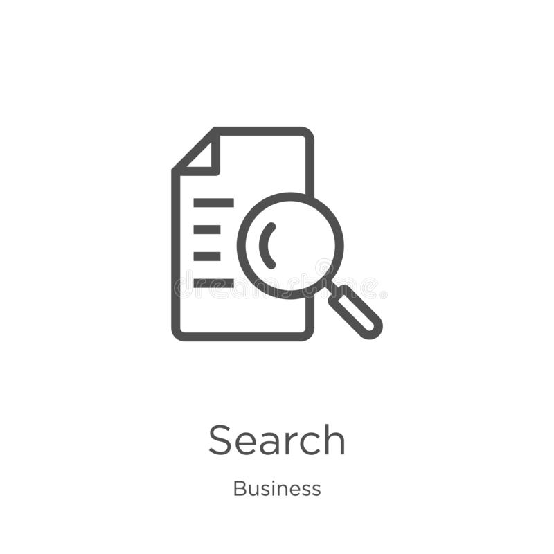 search icon vector from business collection. Thin line search outline icon vector illustration. Outline, thin line search icon for stock illustration