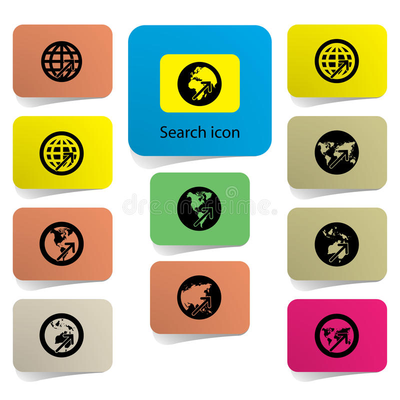 Search icon,world map sign,vision concept .(credit stock illustration