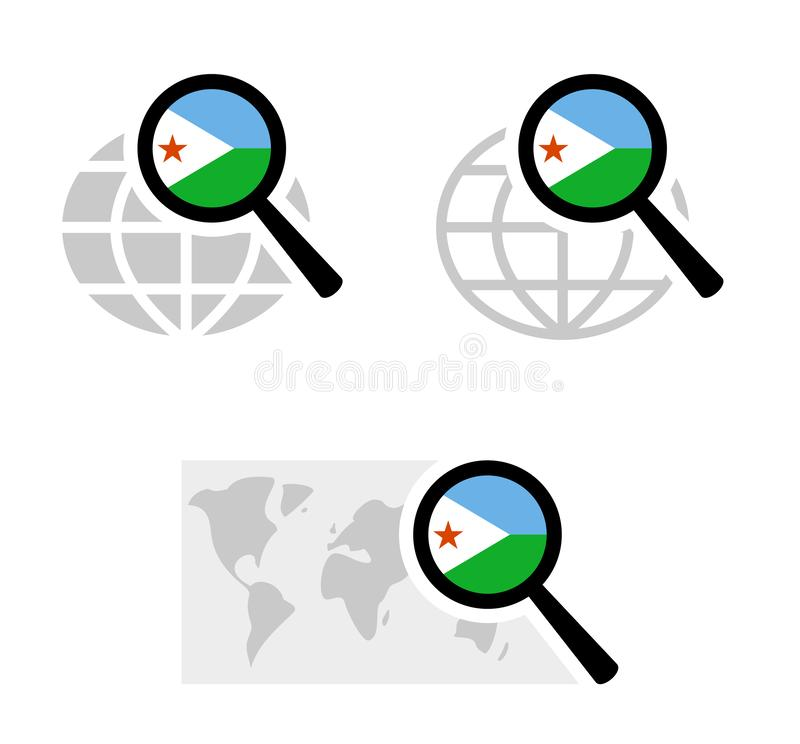 Search icons with djibouti flag. Searching icons with djibouti flag stock illustration