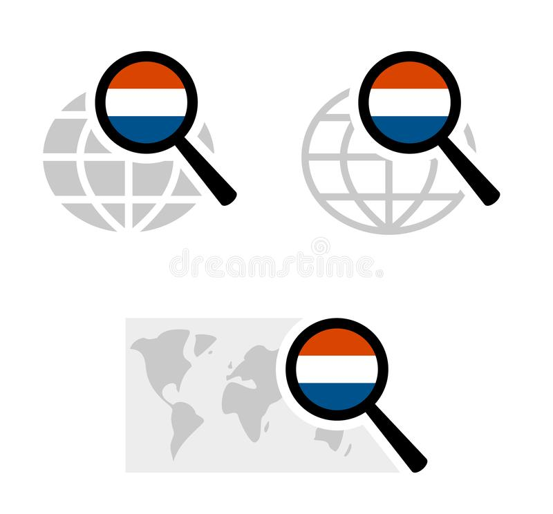 Search icons with dutch flag royalty free illustration