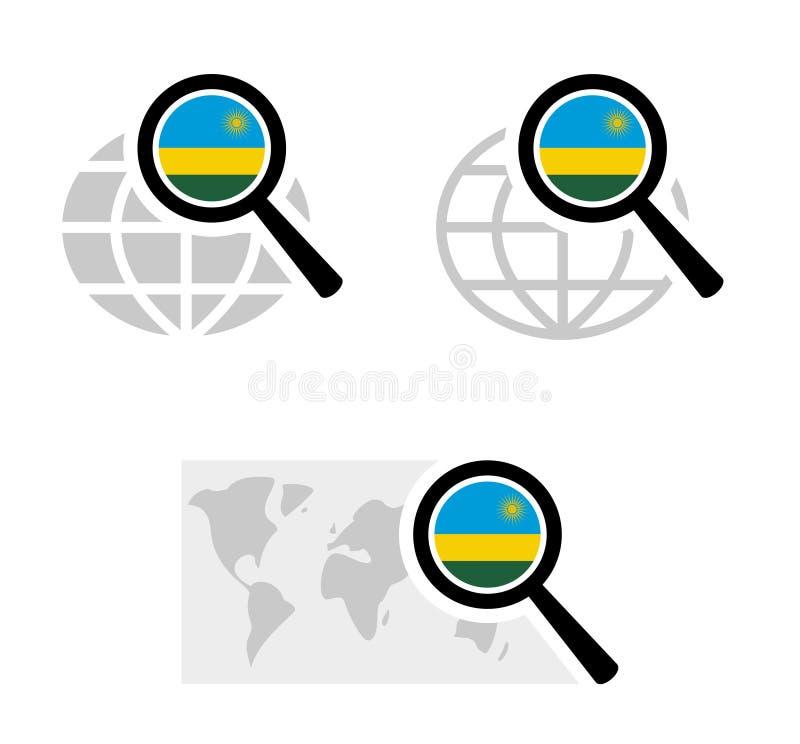 Search icons and rwanda flag stock illustration