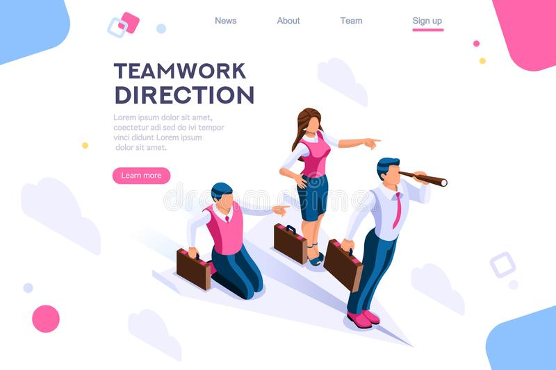 Search Idea Advancement Cloud Concept. Cloud header, search, idea advancement. Man cutout, flat color icons, creative illustrations, isometric infographic images stock illustration
