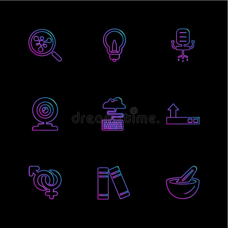 search , idea, bulb , chair ,microphone , cloud , gender , file royalty free illustration