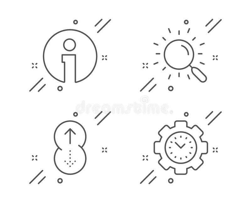 Search, Info and Swipe up icons set. Time management sign. Find document, Information, Scrolling page. Vector royalty free illustration