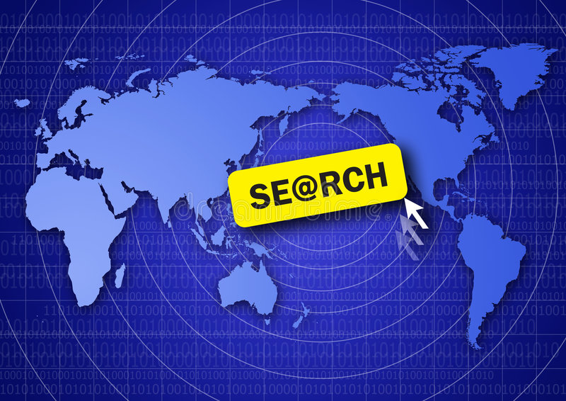 Search the internet. World map and search button royalty free illustration