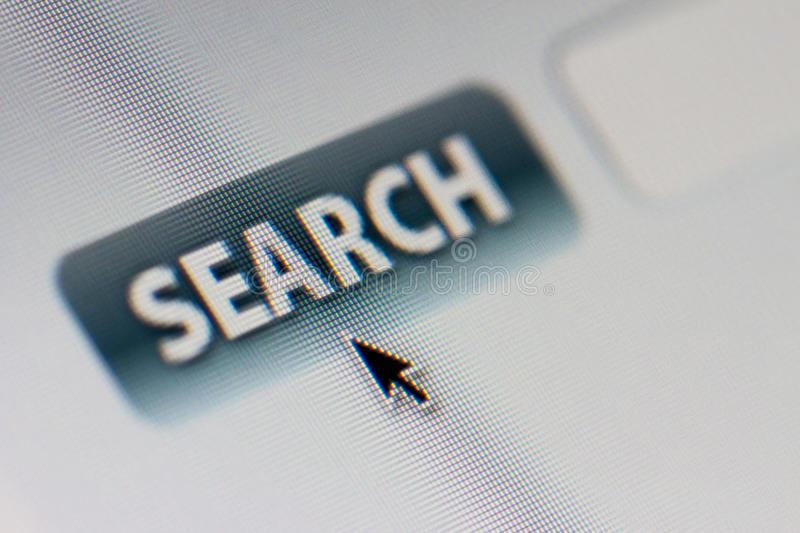 Internet Search. A search on the internet is shown on a computer screen in macro royalty free stock photos