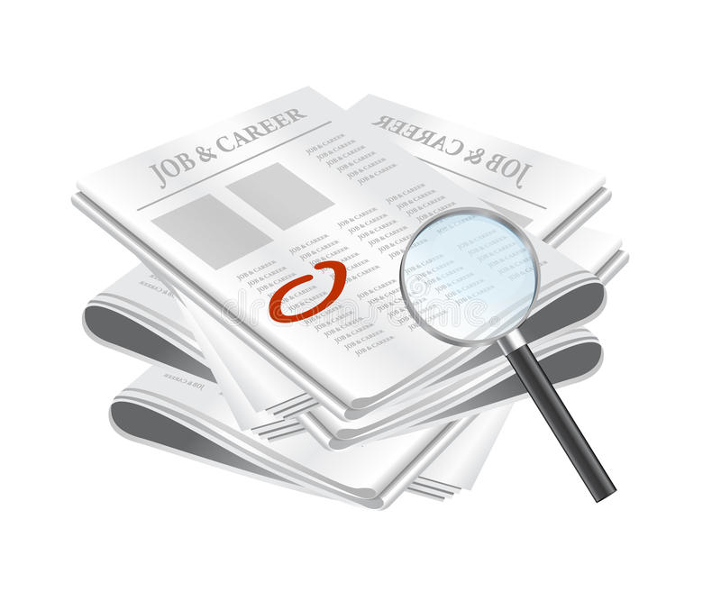 Search for job on classified ads. Newspapers with magnifying glass and red circle around classified ad, related to job seeking, vector file available royalty free illustration