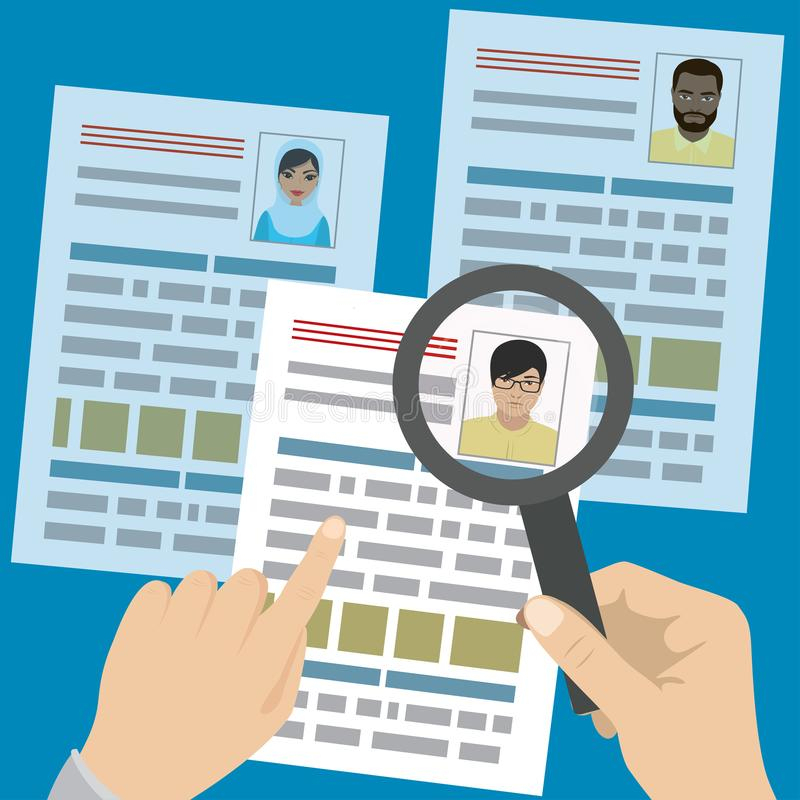 Search job design. Search job design,Concepts for human resource and recruitment. Searching cv and profile of employees with magnifier, cartoon vector stock illustration
