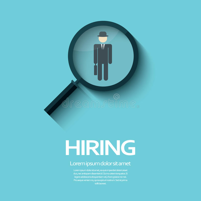 Search for job symbol with magnifying glass in royalty free illustration