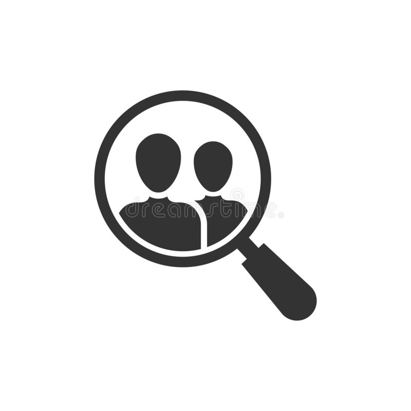 Search job vacancy icon in flat style. Loupe career vector illustration on white isolated background. Find vacancy business royalty free illustration