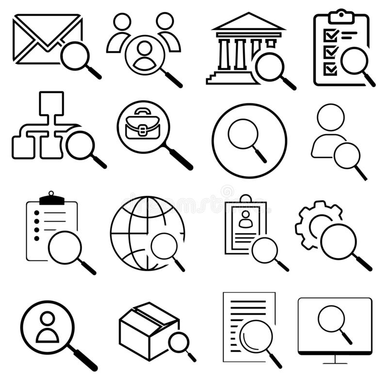Search line icons set. Modern linear graphic design concepts, simple outline elements collection. Vector line icons stock illustration