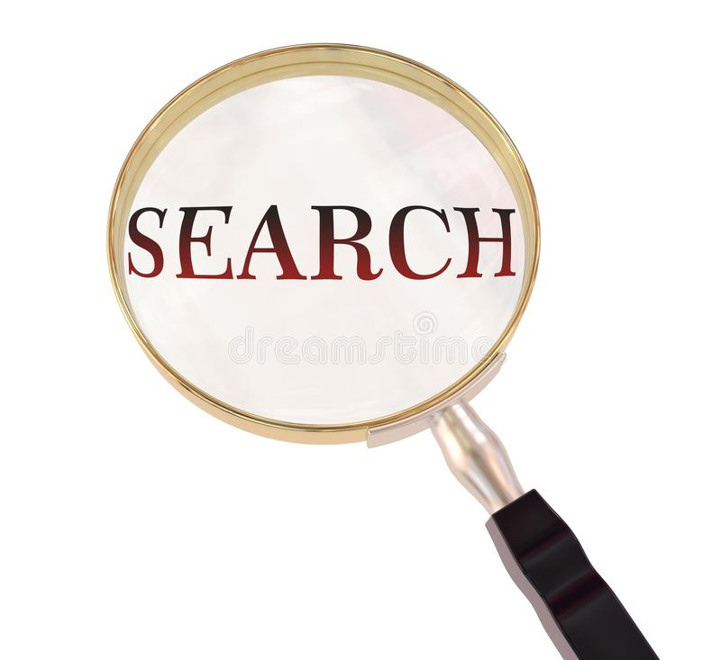 Search magnify. By 3d rendered magnifying glass on isolated white background stock illustration