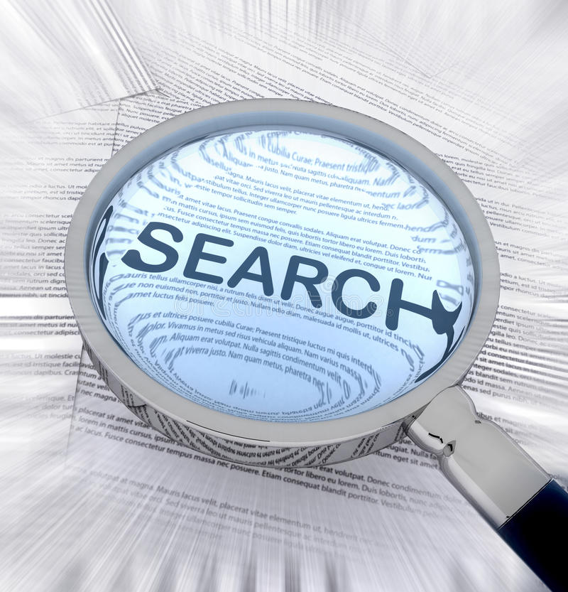 Search with a magnifying glass