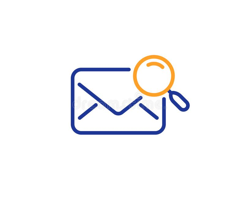 Search mail line icon. Find letter document sign. Vector. Search mail line icon. Find letter document sign. Magnify glass. Colorful outline concept. Blue and stock illustration