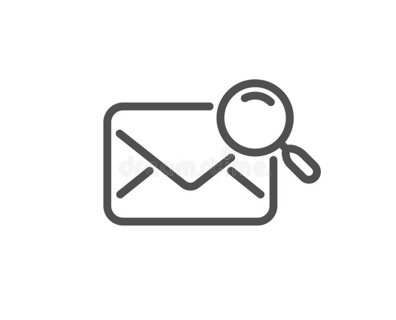 Search mail line icon. Find letter document sign. Vector. Search mail line icon. Find letter document sign. Magnify glass. Quality design flat app element stock illustration