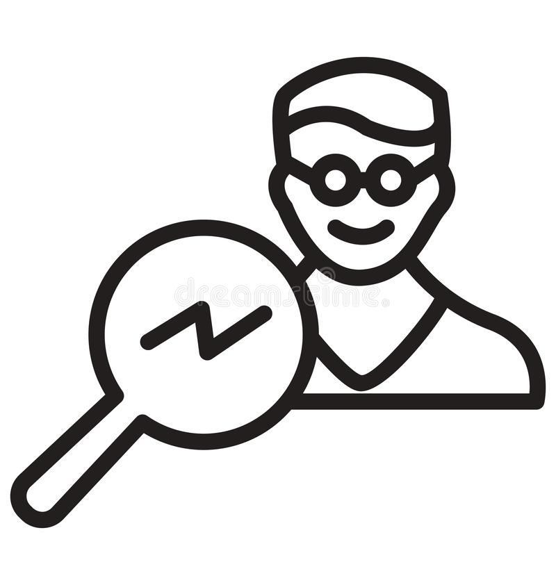 Search man, avatar, searching line isolated icon can be easily modified and edit vector illustration