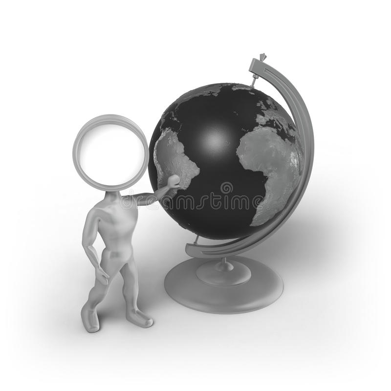 Search-Man with a globe vector illustration