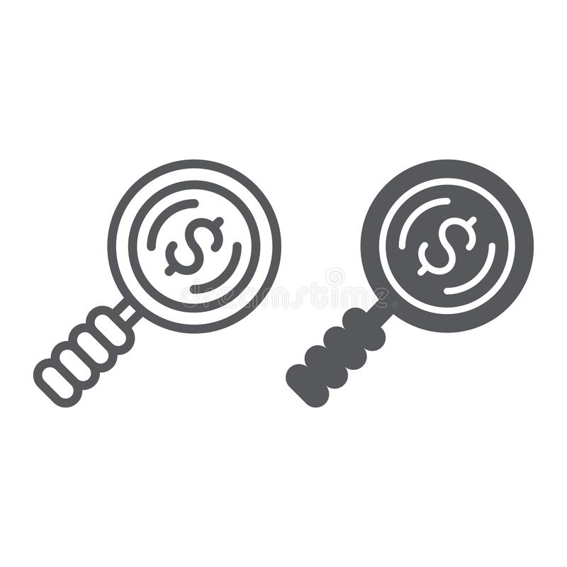 Search money line and glyph icon, finance and banking, lens and dollar sign, vector graphics, a linear pattern on a stock illustration
