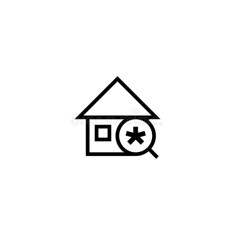 Search new house icon. home with magnifying glass and asterisk symbol. simple clean thin outline style design. stock illustration