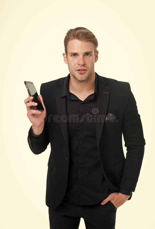 Search online. Businessman confident use smartphone white background. Man suit businessman take advantage modern mobile royalty free stock image