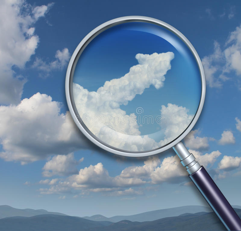Search For Opportunity. And discovery of chances for business success with a visionary ability as a magnifying glass on a sky with an upward arrow shaped cloud royalty free illustration