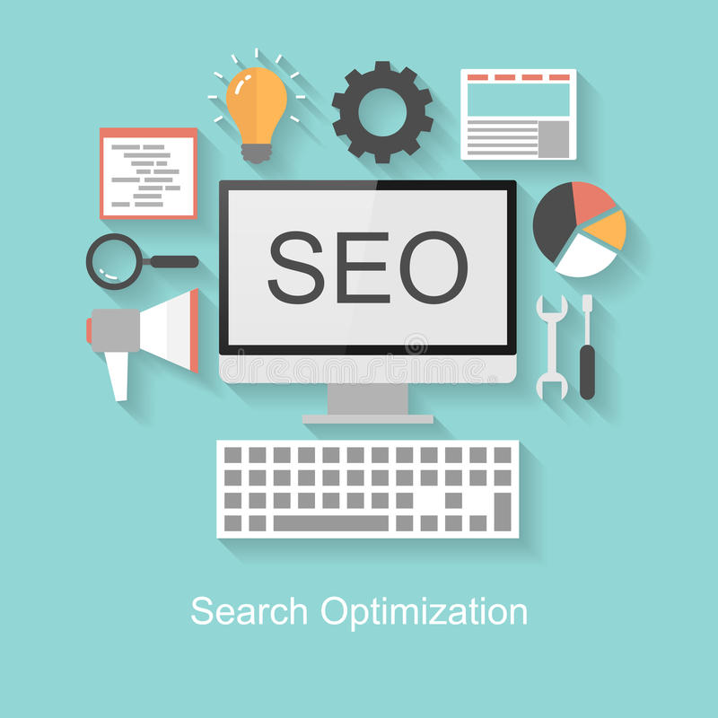 Search optimization concept, flat design with long shadow. On turquoise background royalty free illustration