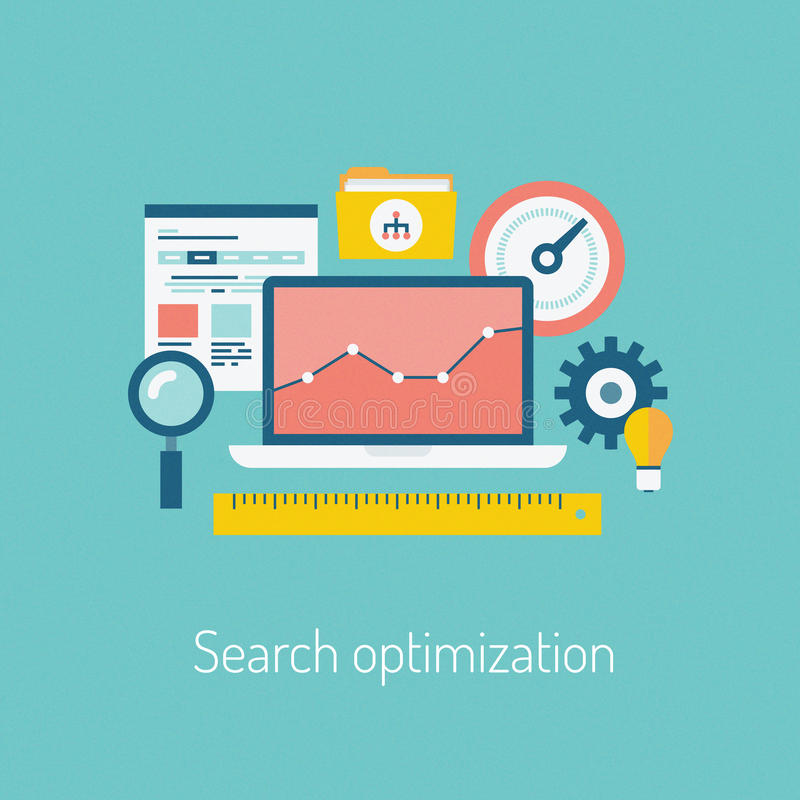 Search optimization illustration concept. Flat design modern vector illustration of the SEO website searching optimization process with web page, laptop and
