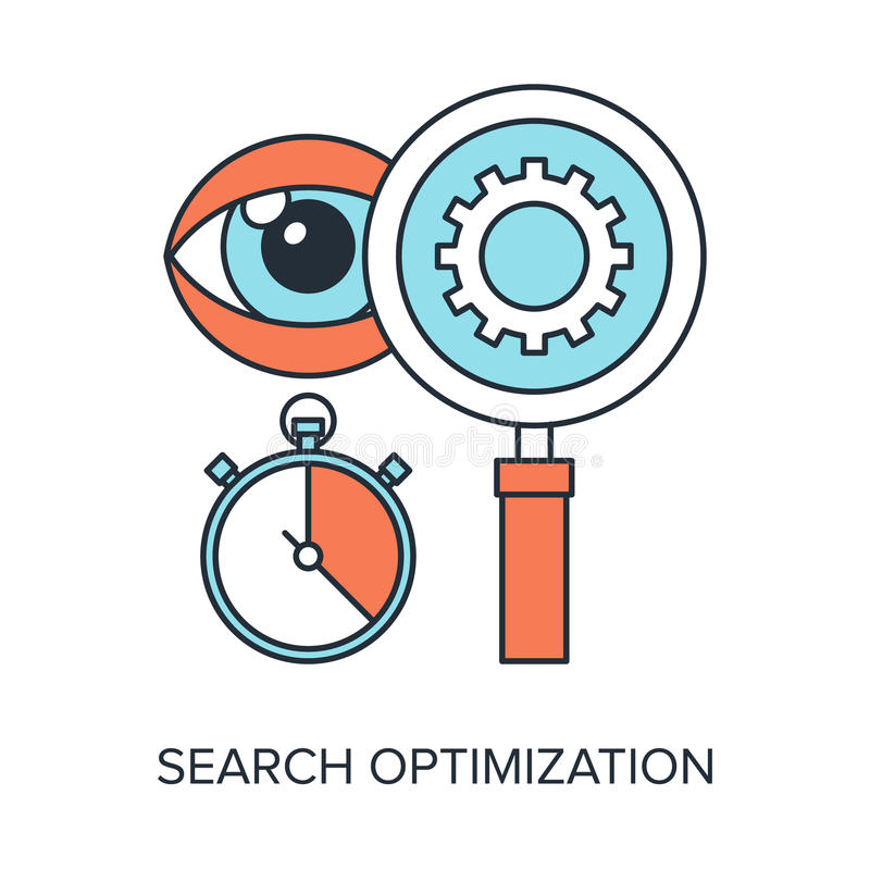 Search Optimization. Vector illustration of search optimization flat line design concept stock illustration
