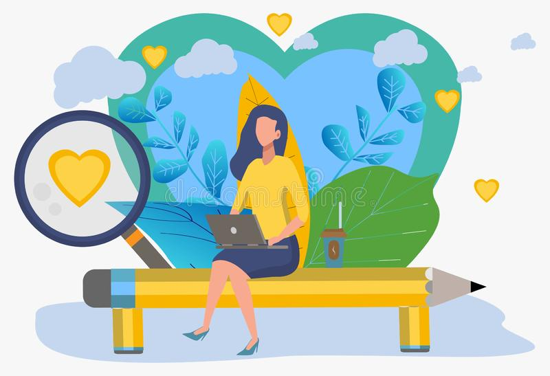 Search for a pair. The girl is looking for a guy. Communication through the social networks of the Internet. The concept of communication, discussion of business royalty free illustration