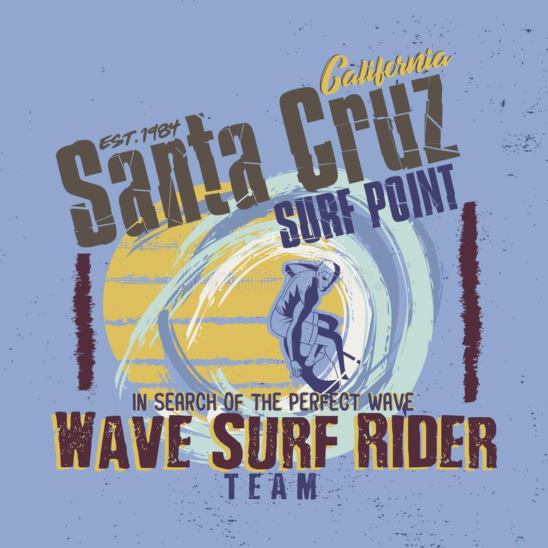 In search of the perfect wave. Santa Cruz California. Wave Surf Rider Team. Graphic for T-shirt stock image
