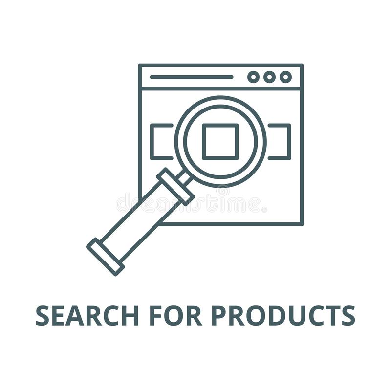 Search for products on the site vector line icon, linear concept, outline sign, symbol. Search for products on the site vector line icon, outline concept, linear royalty free illustration