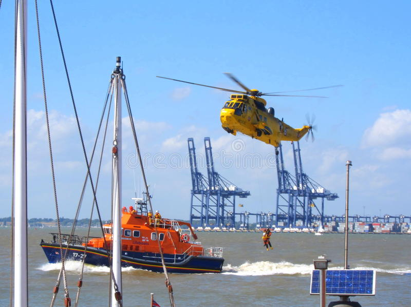 Search and Rescue Helicopter and RNLI Lifeboat royalty free stock photos