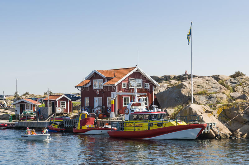 Search and rescue station Smögen. SSRS - Swedish Sea Rescue Societys station for SAR - search and rescue in Smogen (Swedish: Smögen. Swedish West Coast, Sm stock images