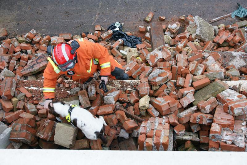 Building collapse, disaster zone. Search & rescue, USAR at building collapse stock photo