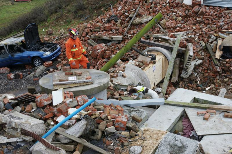 Building collapse, disaster zone. Search & rescue, USAR at building collapse stock image