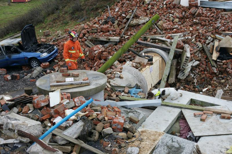 Building collapse, disaster zone. Search & rescue, USAR at building collapse stock photography