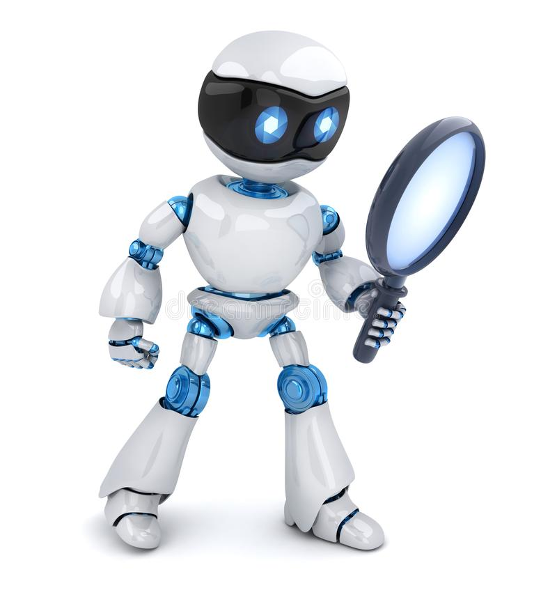 Search white robot and lens. Search robot and lens on white background. 3d illustration vector illustration