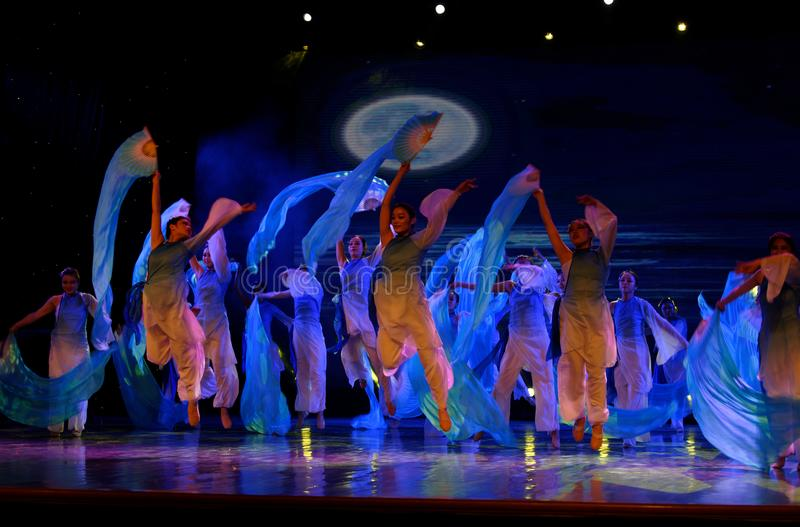 The search of the sea 3 -Chinese folk dance. Dance is the transformation of the sea, like a girl, like a shrew, but a mother`s mind. In June 13, 2018, dance royalty free stock photography