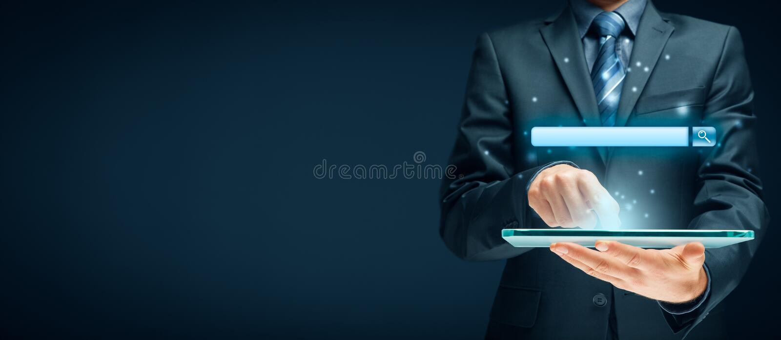 Search and SEO. Search, find and SEO internet concepts. Tablet user and web search engine web browser represented by address line stock illustration